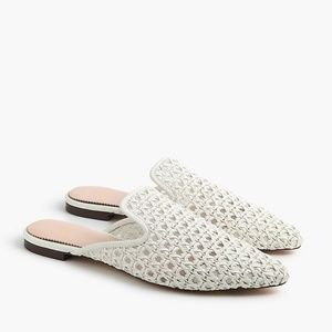 New JCREW White Pointed-Toe Woven Slides Shoes